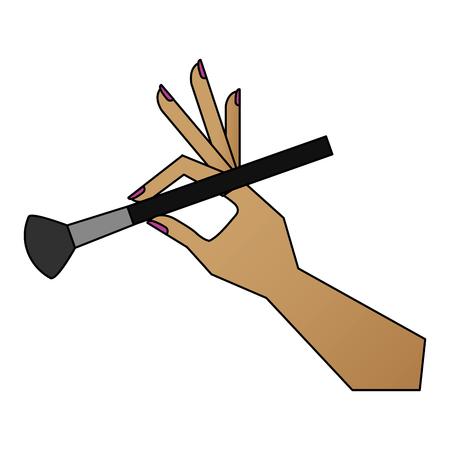 main avec pinceau de maquillage icône isolé illustration vectorielle