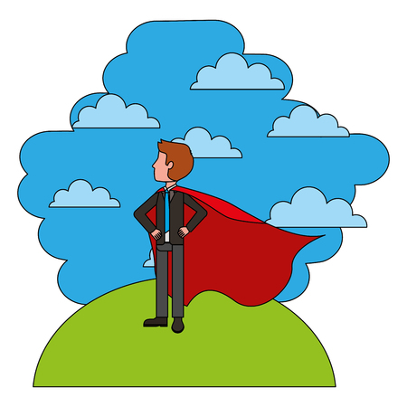 elegant businessman super hero in landscape vector illustration design