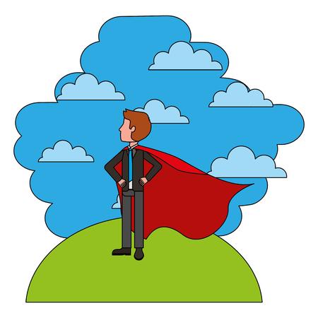 elegant businessman super hero in landscape vector illustration design