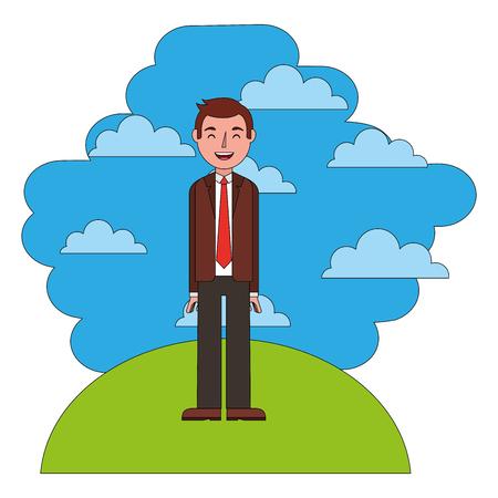 elegant businessman in landscape avatar character vector illustration design