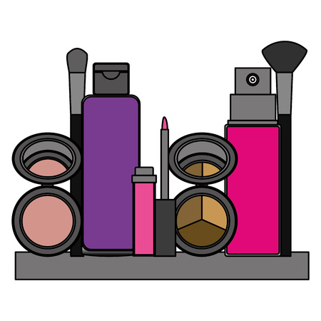 shelf with accessories female make up vector illustration design
