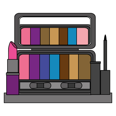 palette eyeshadows with eyeliner and lip in shelf femenine make up vector illustration design