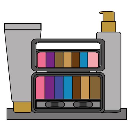 palette eyeshadows with bottles of cream in shelf femenine make up vector illustration design