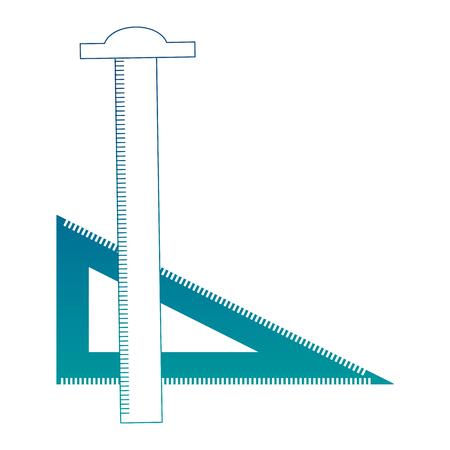 Règle tsquare et triangle dessinant des fournitures d'art illustration vectorielle couleur néon