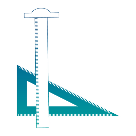 ruler tsquare and triangle drafting art supplies vector illustration neon color Illustration