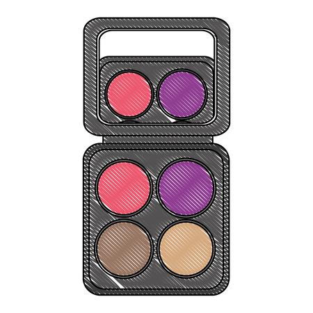 palette eyeshadows with mirror femenine make up vector illustration design
