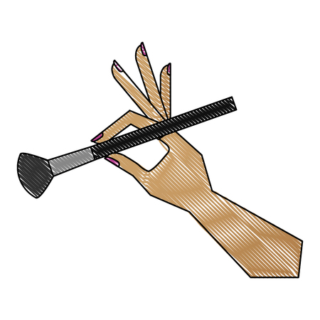 hand with makeup brush isolated icon vector illustration design