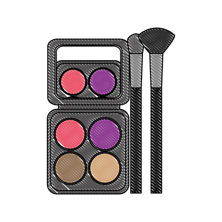 palette eyeshadows with brushes femenine make up vector illustration design Çizim