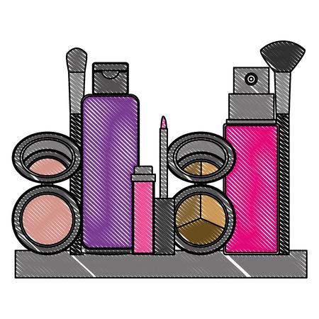 shelf with accessories female make up vector illustration design