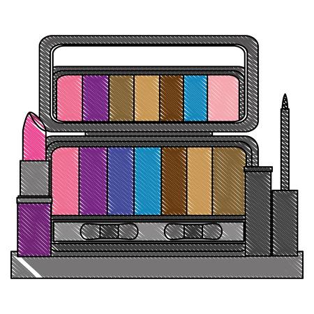 palette eyeshadows with eyeliner and lip in shelf femenine make up vector illustration design