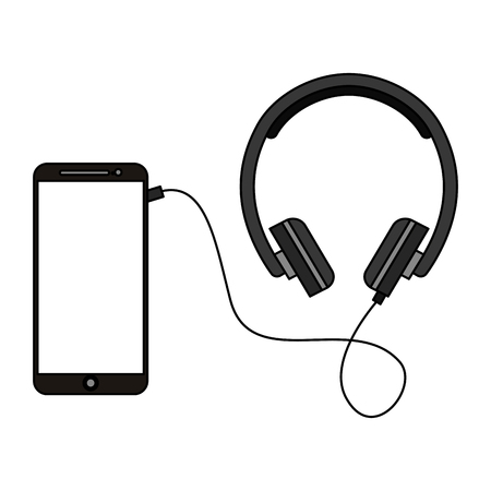 smartphone with headphone device vector illustration design