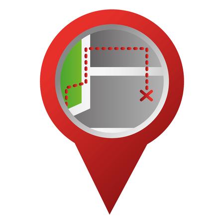 GPS navigation pointer map route vector illustration