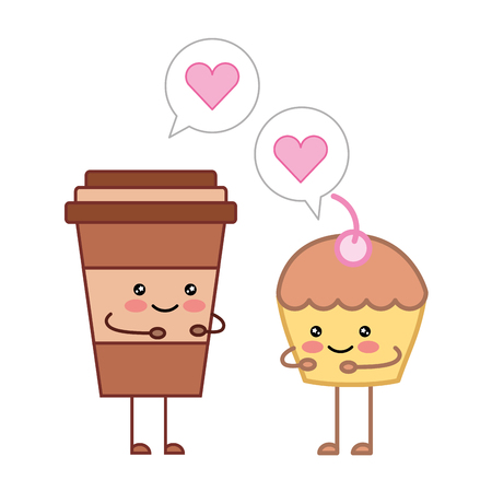 Coffee cup and cupcake love cartoon vector illustration
