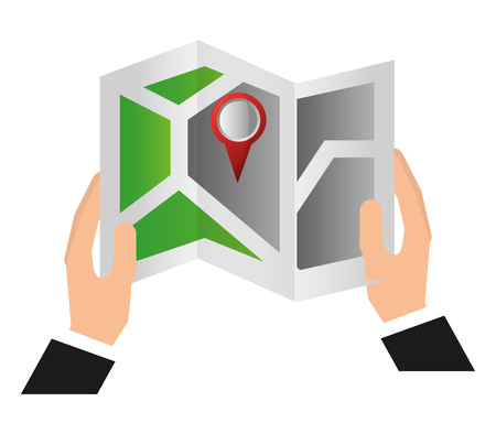 Hand holds gps navigation folded map pin vector illustration
