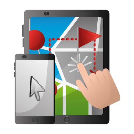 GPS navigation map on screen laptop mobile click find vector illustration Ilustração