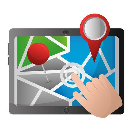 Hand clicking screen tablet pc pointer map gps navigation vector illustration