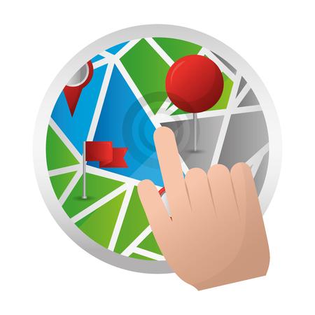 hand cursor click on map pin gps navigation vector illustration  Illustration