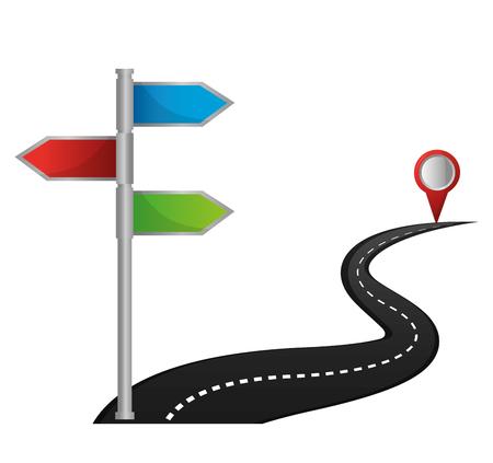 Ilustración de vector de destino de llegada de salida de ruta de navegación GPS Ilustración de vector