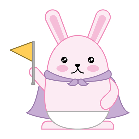kawaii cute rabbit holding flag cartoon vector illustration