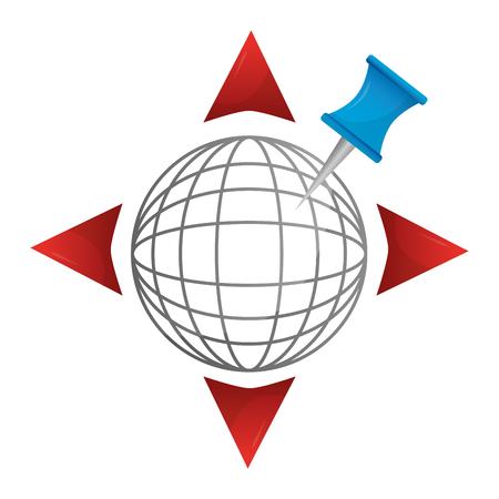 gps navigation global world directions arrows pin vector illustration  Ilustrace