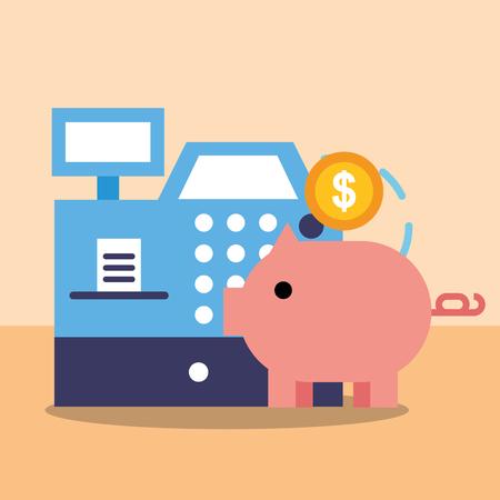 online shopping register cash piggy bank coin vector illustration