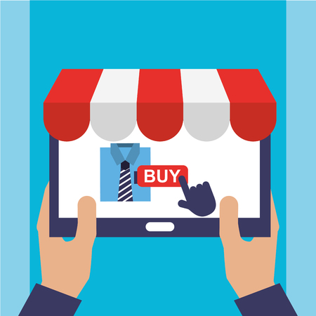 Hand with mobile online shopping clothes vector illustration. Ilustrace