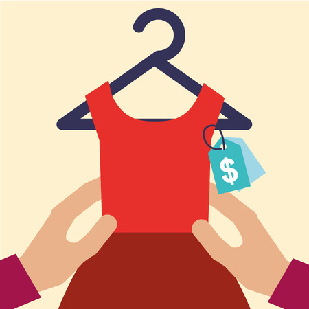 hands holding red dress female clothes tag price vector illustration