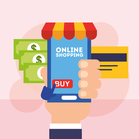 hand holding mobile online shopping bank card and money vector illustration Banque d'images - 101115672