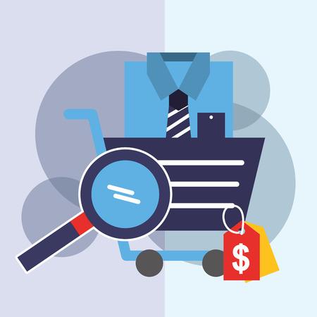 online shopping cart shirt magnifying glass vector illustration Illustration