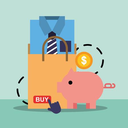 Shopping bag clothes male piggy bank safe money online vector illustration.