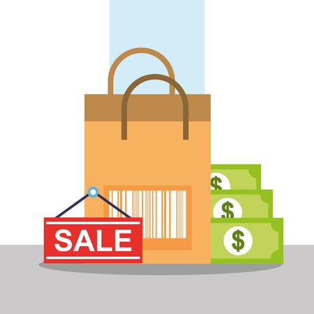 Online shopping bag bar code banknote vector illustration. Stock Illustratie