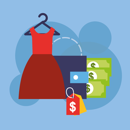Online shopping female clothes and wallet banknote vector illustration.