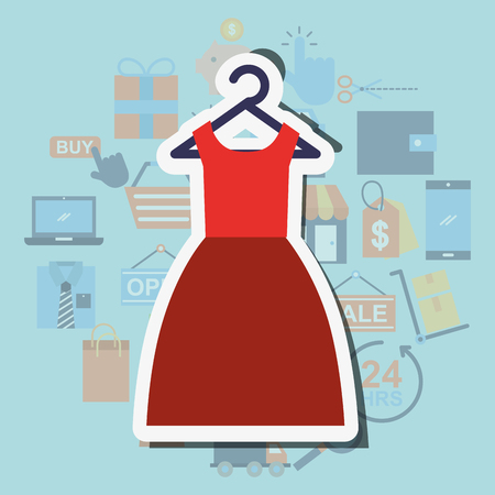 Red dress female clothes shopping concept vector illustration.