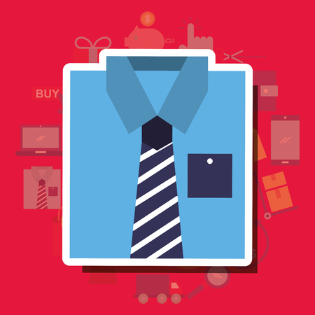 Blue shirt male clothes shopping concept vector illustration. Standard-Bild - 101122727