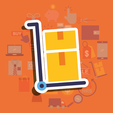 Transport cart with cardboard boxes delivery vector illustration.