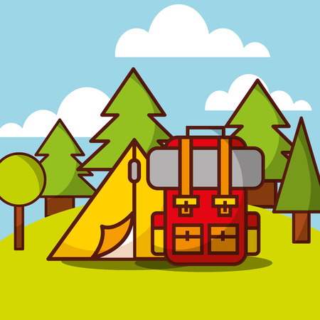 Tent camp and backpack forest natural vector illustration.