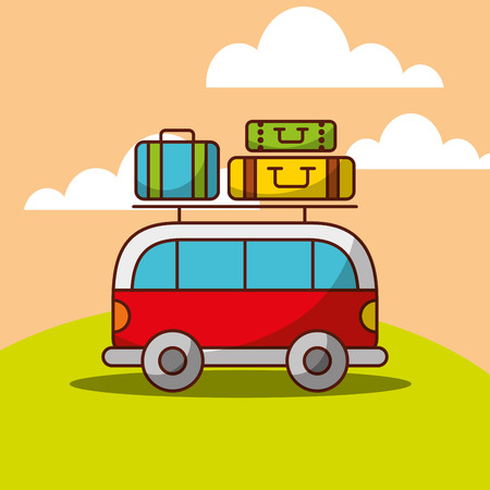 Van car travel baggage on roof vector illustration.