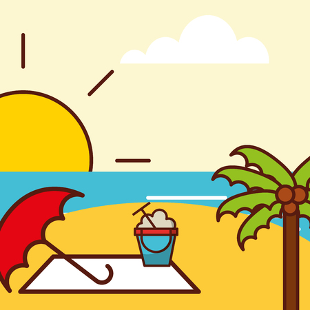Time to travel beach umbrella two sea and palm coconut vector illustration.