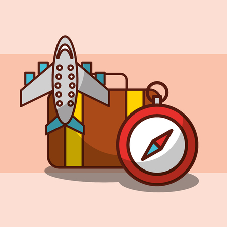 Time to travel airplane suitcase and compass vector illustration.