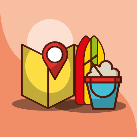 map pointer location beach bucket and surfboarding vector illustration Stock Vector - 101115686