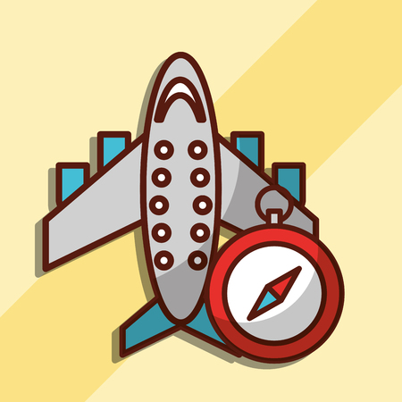 time to travel airplane transport compass vector illustration Archivio Fotografico - 101115687