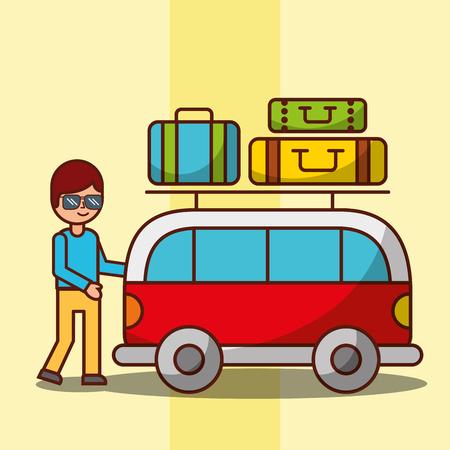 cartoon man and van car travel baggage on roof vector illustration