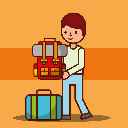 man cartoon carrying backpack and suitcase travel vector illustration