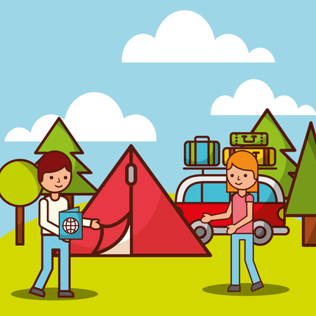 couple cartoon camp forest van tent trees vector illustration