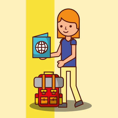time to travel girl cartoon backpack and passport tourist vector illustration