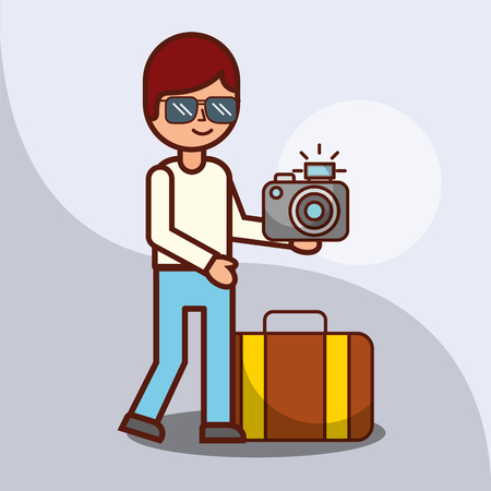 time to travel cartoon boy in glasses with photography camera and suitcase vector illustration