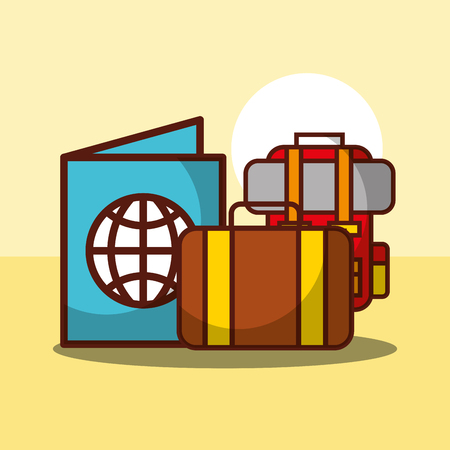 time to travel passport suitcase and backpack vector illustration