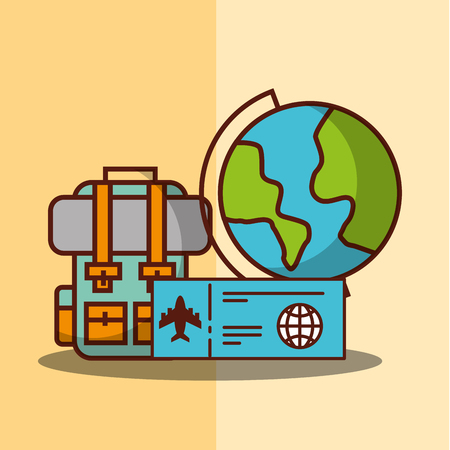 time to travel world backpack passport vector illustration