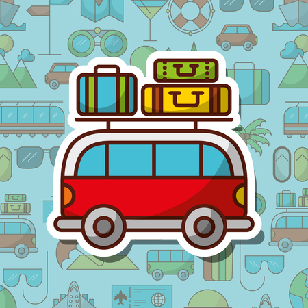 time to travel van car and baggage vacation tourism vector illustration