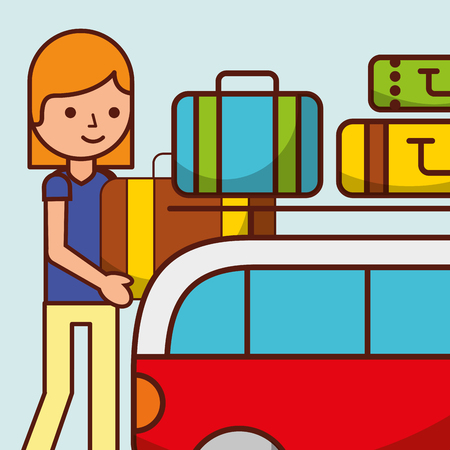 cartoon girl van car travel baggage vector illustration Stock Vector - 101115701